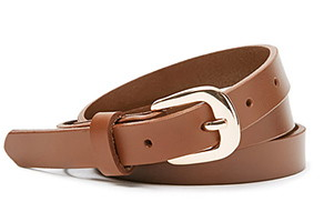 A skinny faux leather belt