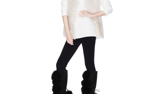 Black Suede and Fox Fur Knee High Boots