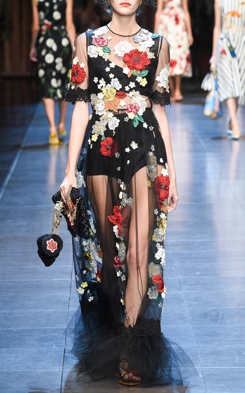 Dolce & Gabbana Embellished Floral Tulle Gown